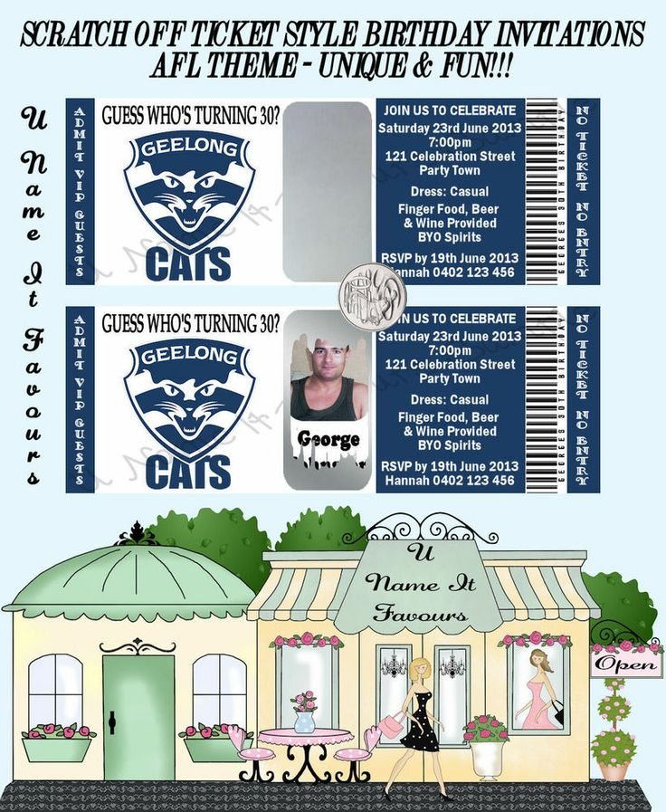 SCRATCH OFF TICKET STYLE INVITATIONS - AFL TEAMS - UNIQUE & FUN! - ANY AGE