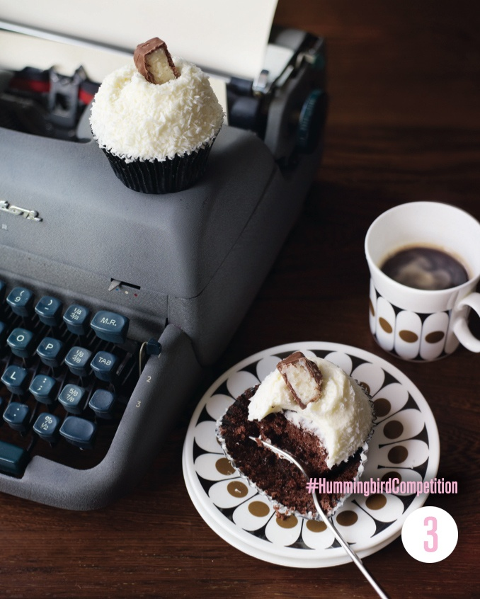 Chocolate and Coconut Cupcakes. Enter our #HummingbirdCompetition by March 6th, 2013 for a chance to win 1 of 3 free Home Sweet Home cookbooks. Rules and how to enter can be found here: https://www.facebook.com/notes/the-hummingbird-bakery/win-a-copy-of-home-sweet-home/567680519908799