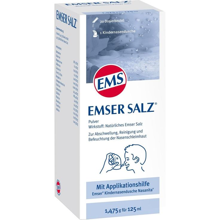EMSER Salz 1,475 g Komb.m.Nasanita Nasendu.Junior:   Packungsinhalt: 1 P Kombipackung PZN: 06478010 Hersteller: SIEMENS & Co Preis: 8,95…