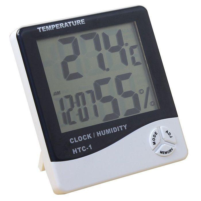 【デジタル温湿度計】熱中症・インフル・お肌のうるおい等チェックに温度計湿度計時計アラーム温度管理測定器卓上スタンドフック穴単4(2931-00)