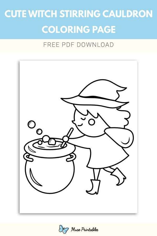 Free Witch Hat And Cauldron Printable Coloring Page Templates For Kids And Adults Witch Coloring Pages Halloween Coloring Book Halloween Coloring Pages