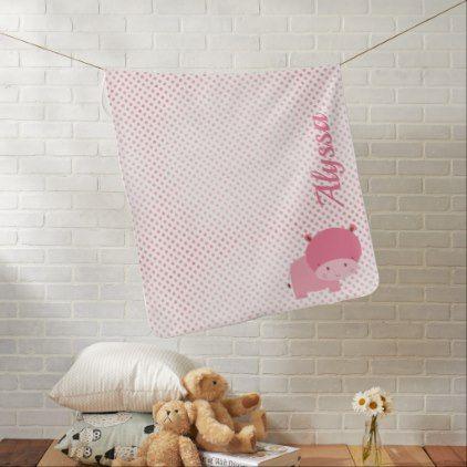 Pink Hippo Monogram Baby Blanket - baby gifts giftidea diy unique cute