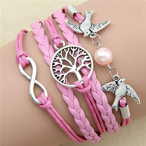 Pixie Lovebird Infinity Charm Braided Bracelet - Pink www.evcostudio.online Charm Bracelet Charm Bangle Silver Charm Love Birds Infinity Bracelet Pink Leather Women's Accessories BFF Gift Daughter Gift Christmas Gift