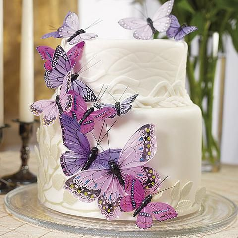 Hand Painted Decorative Butterfly Wedding Party Cake Set