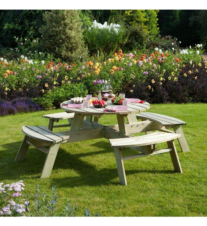 Buy Rowlinson Round Picnic Table at Argos co uk  visit Argos co. Top 25  best Garden furniture uk ideas on Pinterest   Brown
