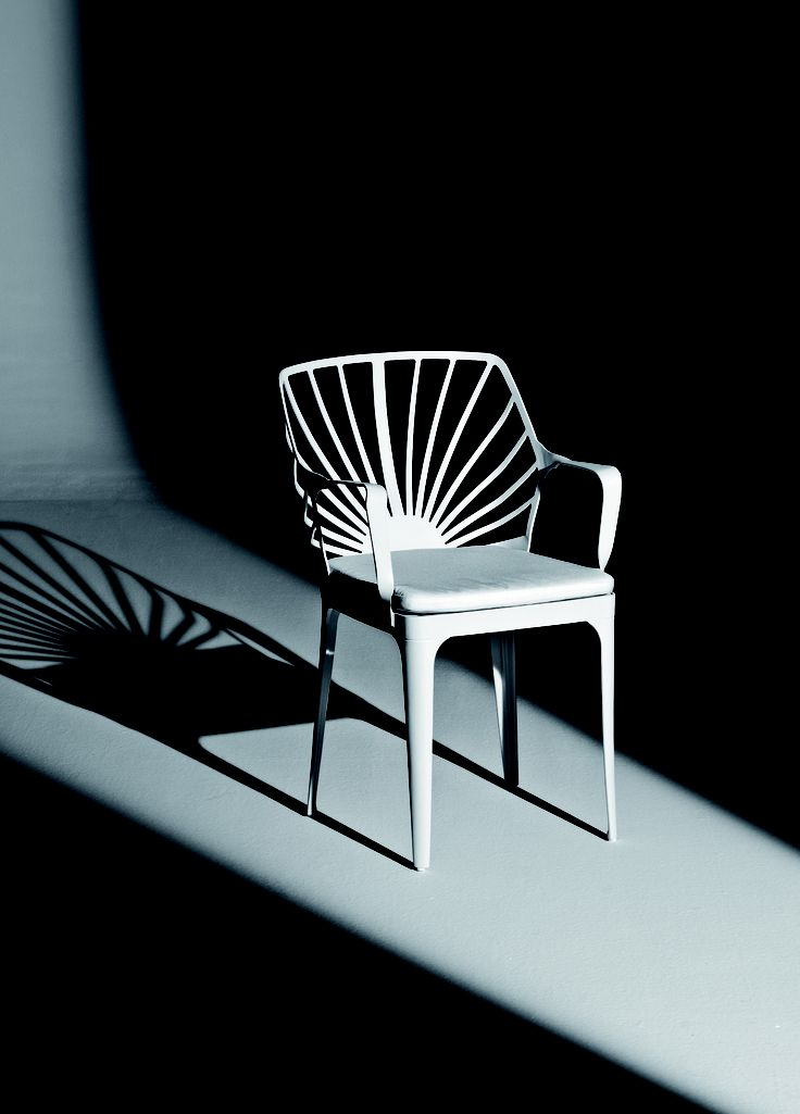SUNRISE By Ludovica + Roberto Palomba Chair, esay chair and stool. White painted aluminum structure, seat and back. Chair and esay chair are equipped with a removable quick dry foamed white cushion.