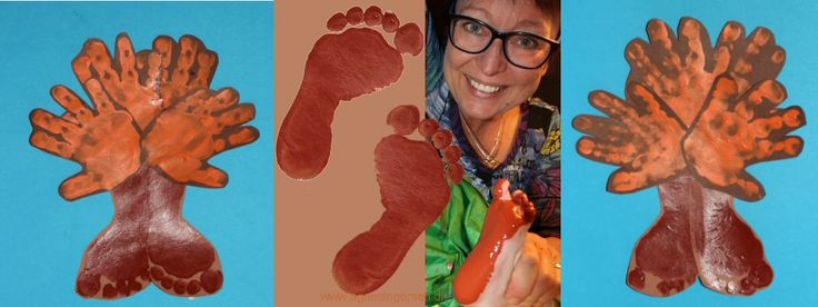 Efterårs træer af hånd og fodaftryk fra min blog:  http://agnesingersen.dk/blog/haandfodtroeer/. Easy kids crafts autumn handprint footprint - Kinderbastelideen Herbst
