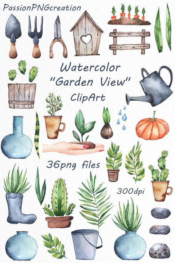 Watercolor Garden Clipart Watercolor Plants Watercolor Greenery