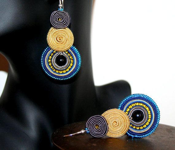 Large and Long Round Soutache Earrings Bijouterie by margoterie