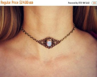 HOLIDAY VERKOOP choker velours roze opaal opal door alapopjewelry