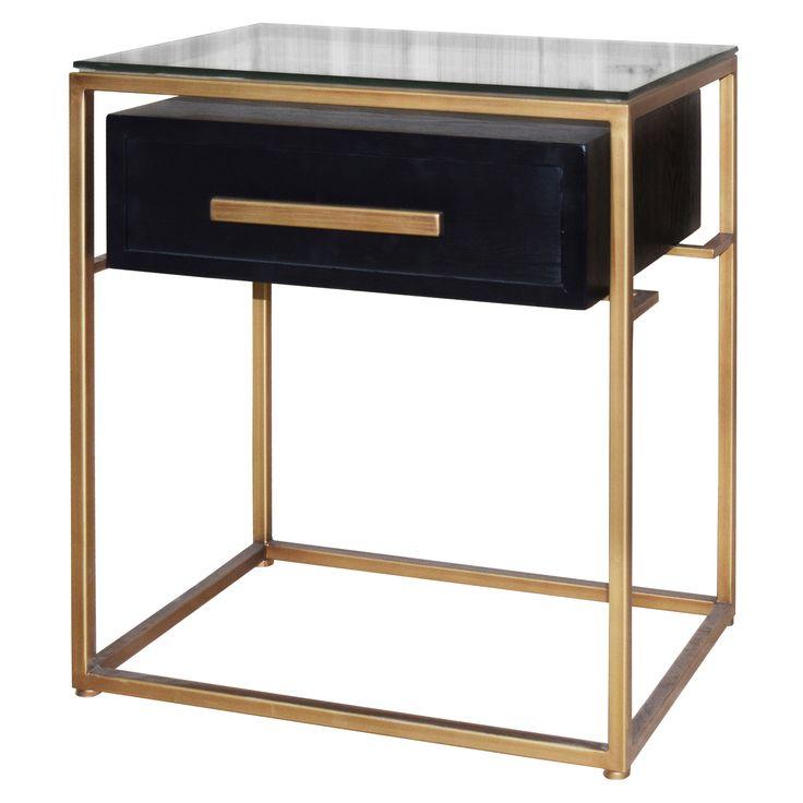 Firenze floating end table 1 drawer gold frame in espresso