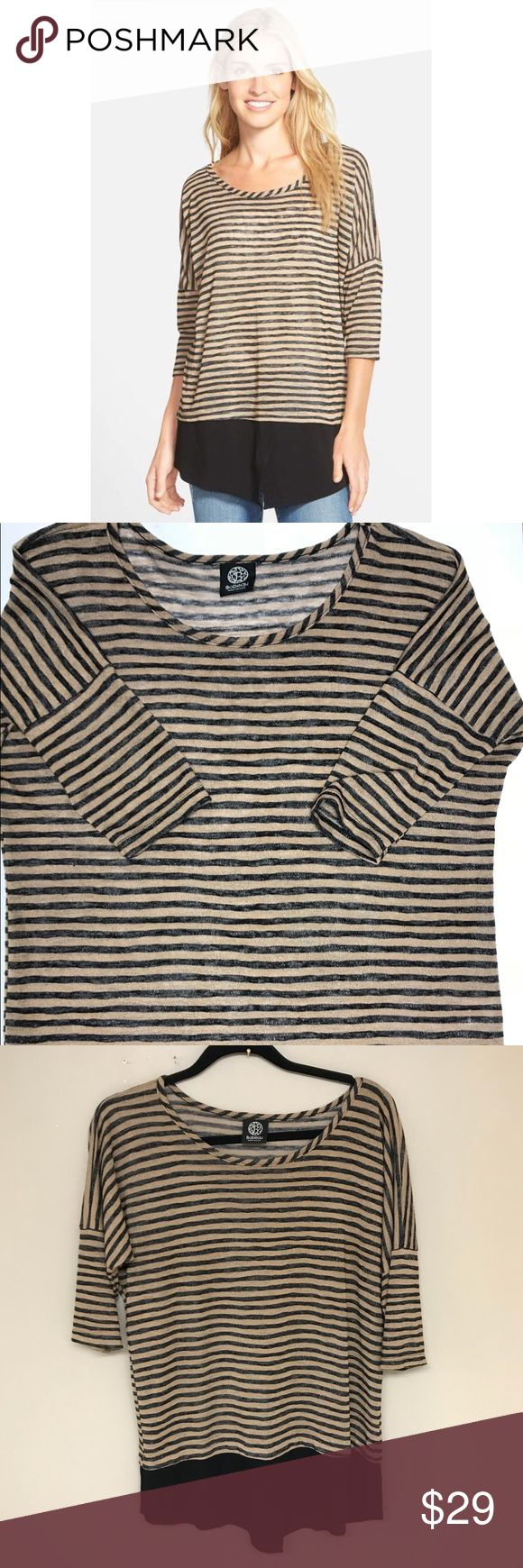 """Bobeau layered look stripe top Like new! In perfect condition!!  BOBEAU layered look striped top  Size small  A Lightweight woven inset forming a shirttail hem brings a pulled-together layered look to a striped knit top with slouchy drop- shoulder styling   Tan and black stripe   Approx measurements: length 28"""" Armpit to armpit 22"""" bobeau Tops"""