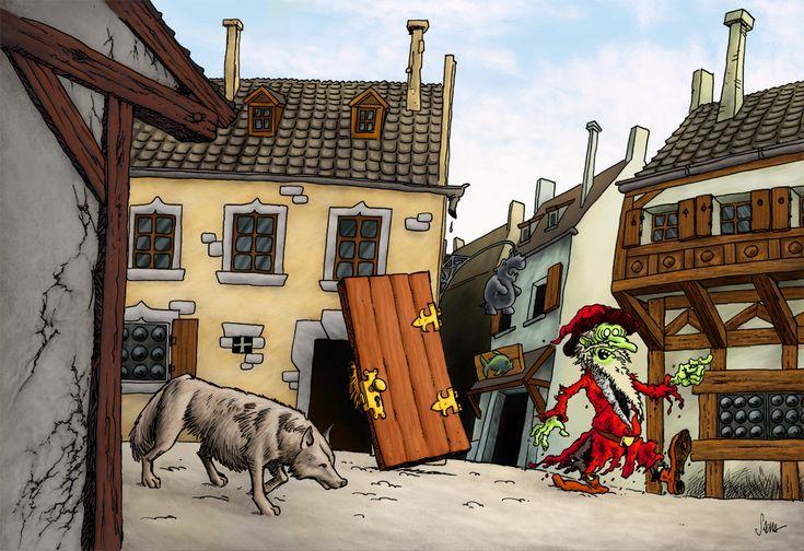 Des amitiés improbables: un homme-garou, un croque-mitaine maladivement timide (derrière la porte) et un mage zombie. Inspiré (si je me souviens bien) d'une scène du Faucheur, de Terry Pratchett. Artwork: Sacha Pfister