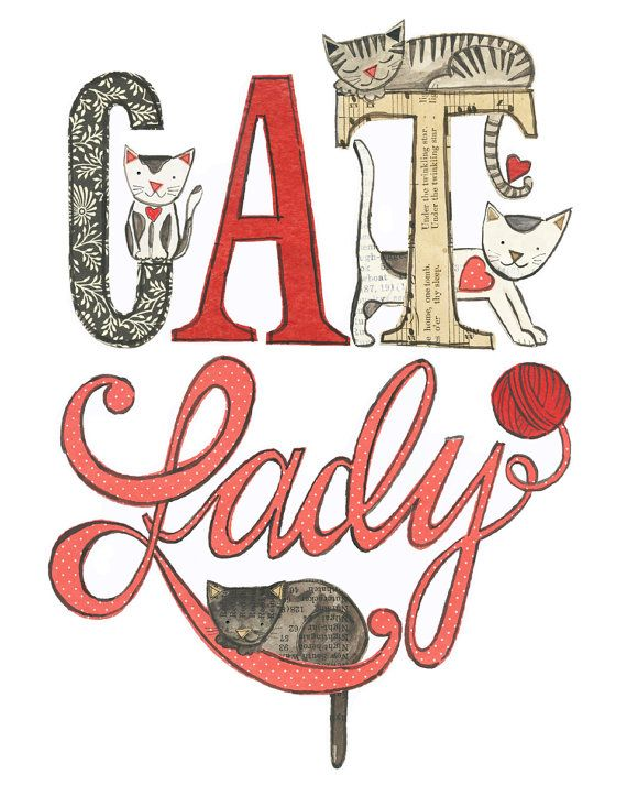 Cat Lady 8 x 10 giclee print cats collage Susan by 29blackstreet