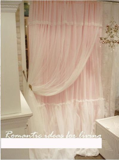 Layered Princess Pink Lace Draping Curtain with by studio1986