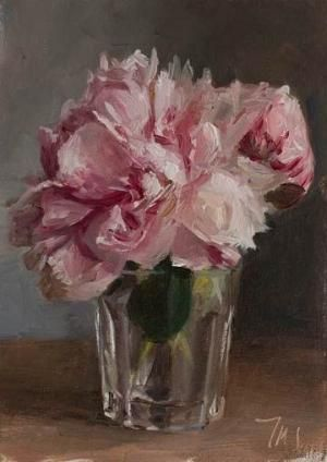 daily painting titled Peonies in a glass by p.paula