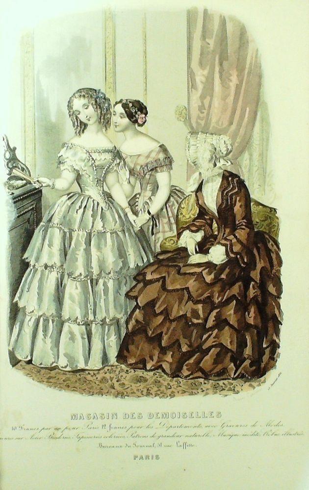 GRAVURE de MODE AUTHENTIQUE-M155-MAGASIN DEMOISELLES-ROBE DE COUR-1854