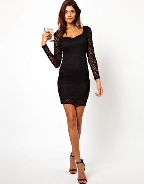 Black lace sleeve dress asos