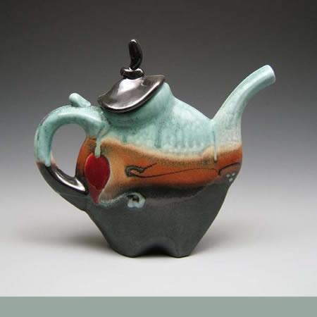 Porcelain Pottery Teapots at Brace Point Pottery by Loren Lukens