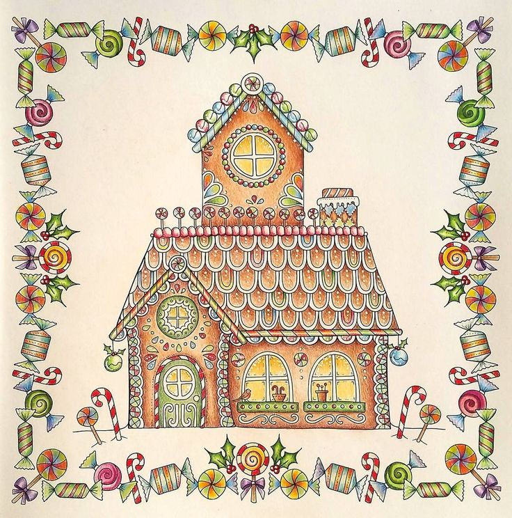 Returned To My Polychromos For This Cute Gingerbread House In Johannaschristmas Johannabasford Coloring BooksAdult