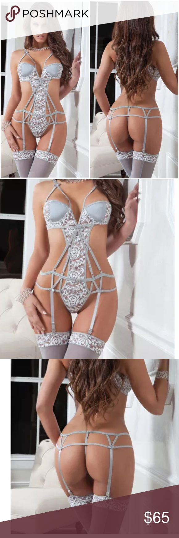 ✨NEW✨Chantilly Lace Caged Lingerie Set + Stockings ✨NEW✨Chantilly Lace Caged Lingerie Set + Stockings✨ ✨Gorgeous Antique Gray Color✨One Size Fits Most (90-150 lbs and 30-36 A/B/C cup)✨Waist 24-29; Hip 34-39 ✨Teddy + garters and matching thigh high stockings included!✨ Intimates & Sleepwear