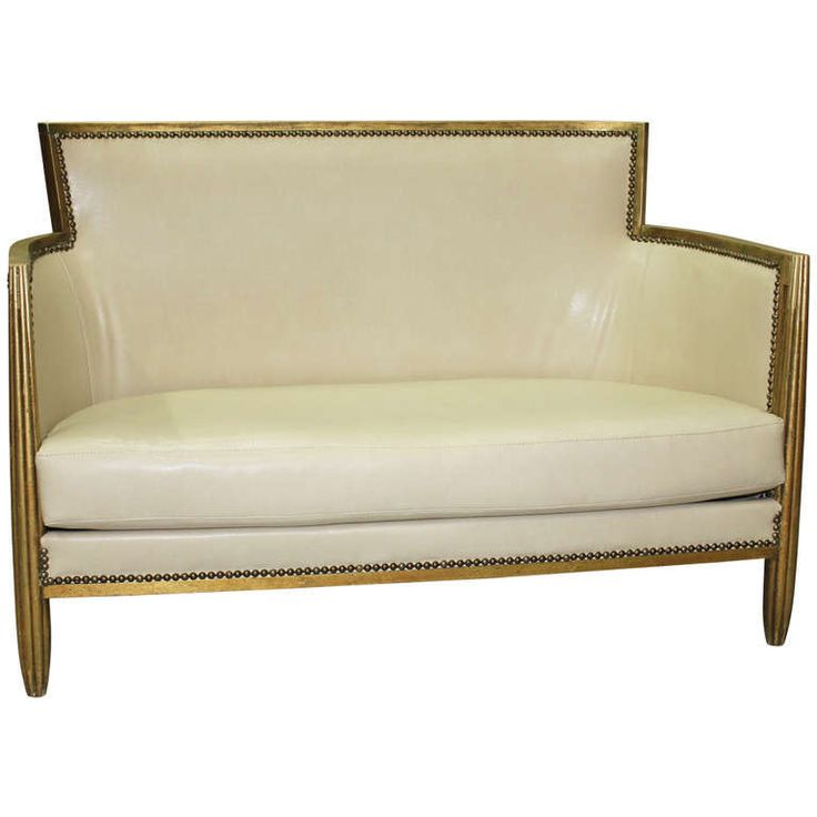 Tufted Sofa French Art Deco Carved Giltwood Canape Style of Paul Follot Circa uS