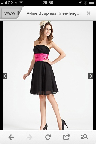 I'd like my bridesmaids to wear black dresses to the knee. Doesn't have to be this particular style, but all bridesmaids will wear a pink sachet around their waist to tie the wedding colors together.