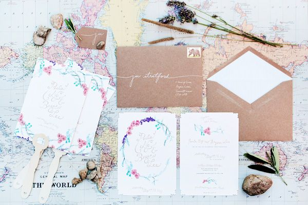 Paula + Bryan's Whimsical Floral Wedding Invitations