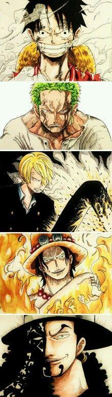 Luffy zoro sanji ace and lucci