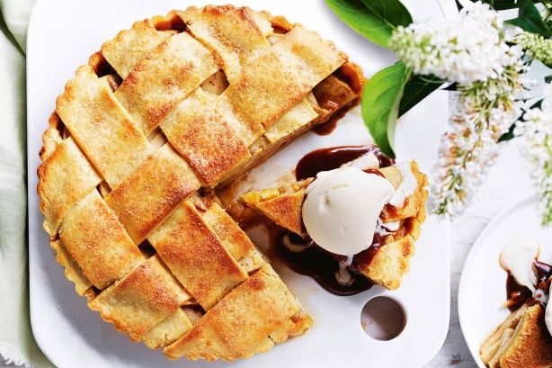 Salted caramel apple pie. Satisfy your sweet tooth with this indulgent salted caramel and apple pie.