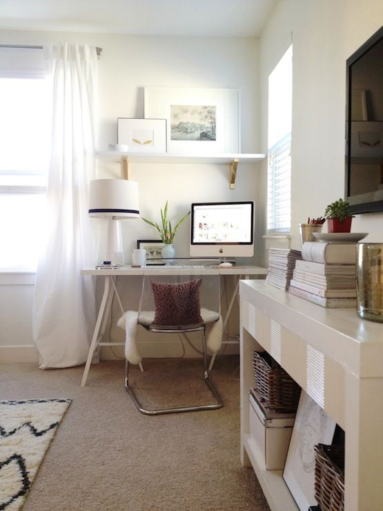 grey and scout chic office design with white sawhorse desk paired with ikea tobias chair chic office ideas 15 chic