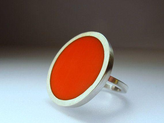 Résine Orange ronde grosse bague - bagues Orange - un pouce argent bague - bijoux d'Art Pop des années soixante
