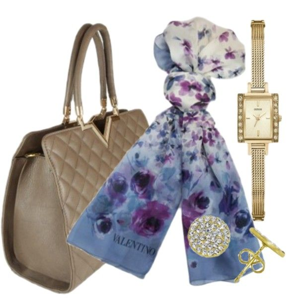 Classic Style by designeronline on Polyvore featuring gold, floral, handbag, quilted and goldjewelry