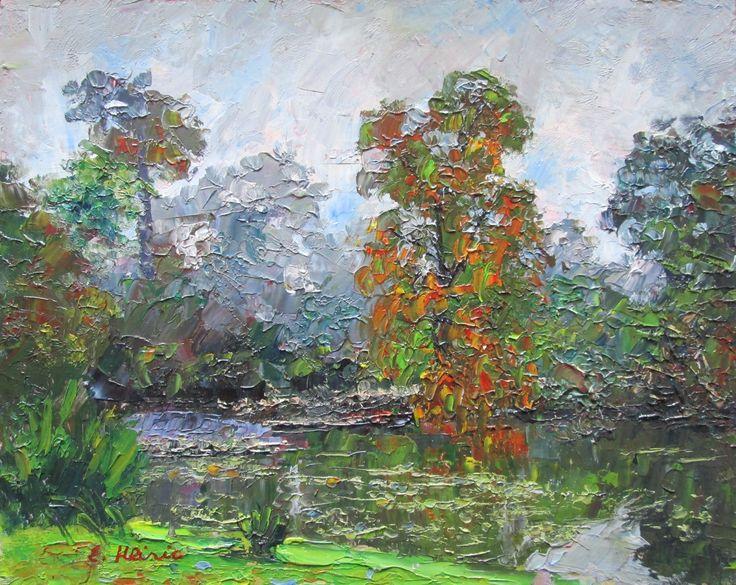 Royal Botanical Gardens, Melbourne, Victoria, Australia Original Impressionist Oil Painting by Enoch Hlisic