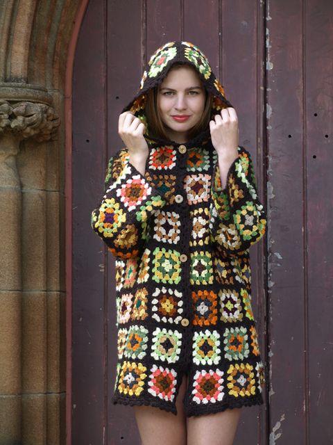 handmade crochet granny square woollen jumper sweater coat jacket cardigan