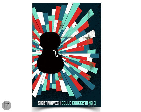 Shostakovich Cello Concerto  11 x 17 Poster by papersparrow, $15.00