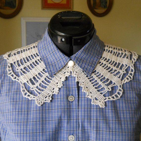 Dit patroon gehaakte kraag is gebaseerd op een ontwerp gepubliceerd door Godeys Magazine in 1863, recht in het midden van de Amerikaanse