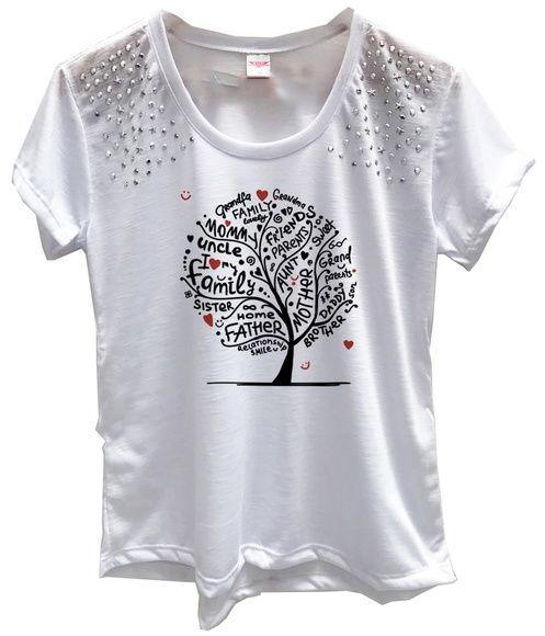 b44f895735 Compre Roupas Femininas Baby Look Pedraria Árvore Da Familia no Elo7 por R   49