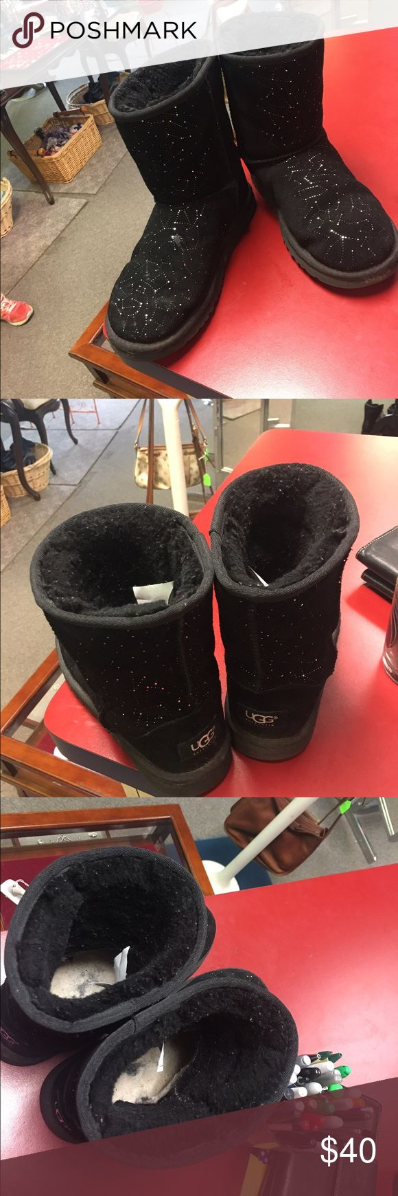 Women's/Girls UGGS boots Size 6/women's size 7/8 Awesome Black w/Silver Ugg boots. Size 6 girls or 7/8 women's UGG Shoes Ankle Boots & Booties
