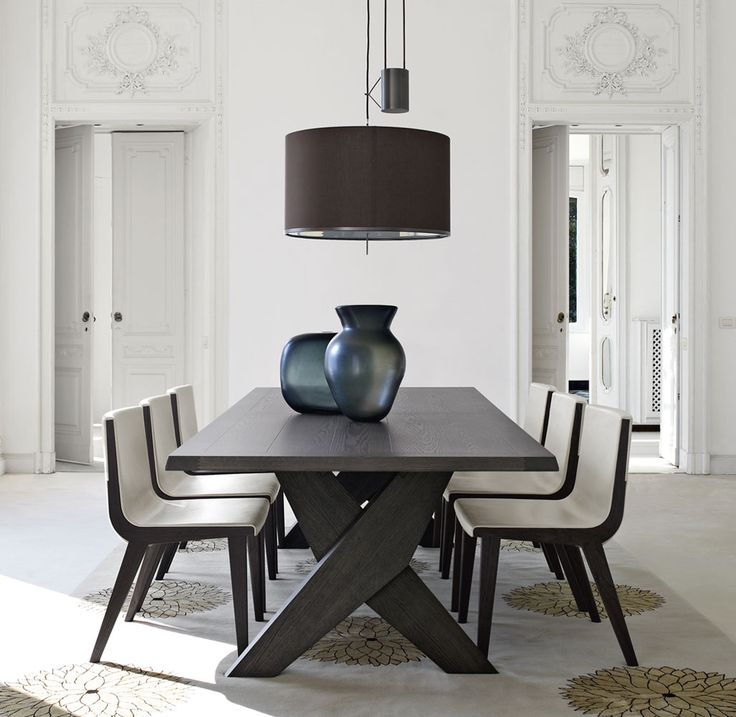 Dining Room Featuring The Plato Table Designed By Antonio Citterio All White Roomwhite Roomsdark Wood Dining Tablemodern