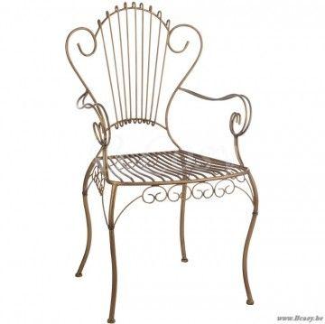 J-Line Retro smeedijzeren gouden metalen stoel met metalen krullen goud 55