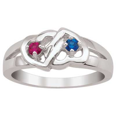 Couple's Interlocking Hearts Simulated Birthstone Ring in Sterling Silver (2 Stones)....this ones pretty too.