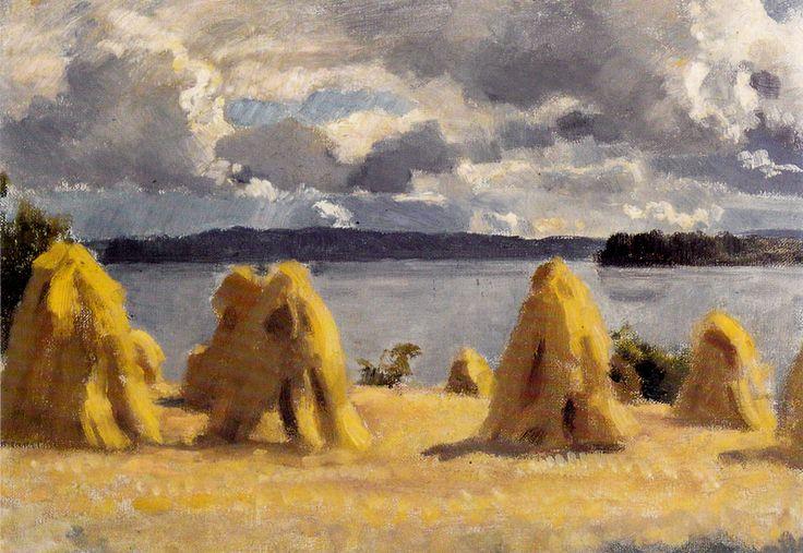 Kuva albumissa EERO JÄRNEFELT - Google Kuvat.  Kuhilaita rantaniityllä, 1920-luku  RETRETTI 1986. iso kortti.