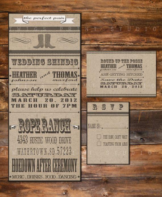 Western Ranch Style: Invitation Western, Wedding Ideas, Invitation Package, Wedding Invitations, Ranch Weddings