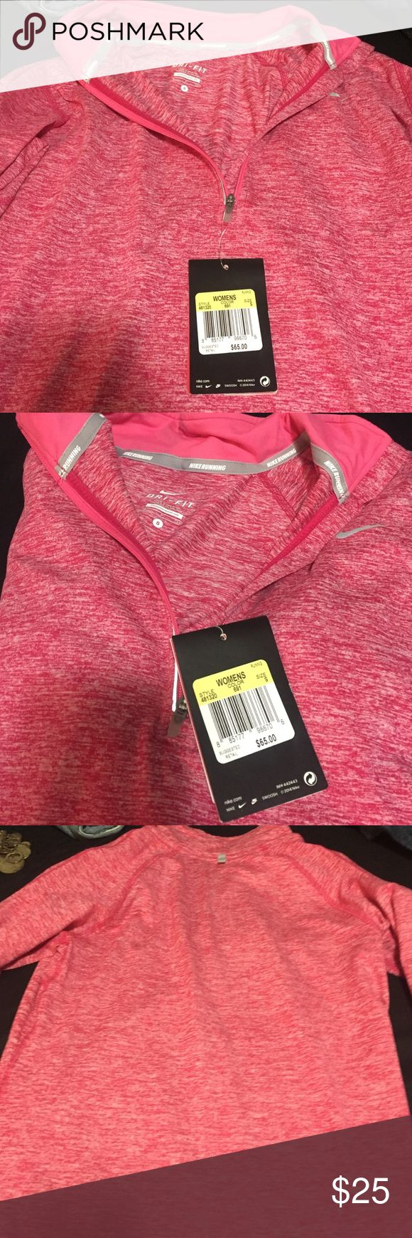 Nike Dri-Fit Running Top | small | dark coral Long sleeve.  Running jacket.  Light but definitely keeps you warm in the cooler fall months.  Perfect for a morning jog.  Size small.  Brand NEW with tags! Price tag attached.  Bought it for $60 but tag says $65! I'm pricing way below what it's worth.  No low ballets plz.  No trades.  Looking to sell.  Need more room for other items! Nike Tops Sweatshirts & Hoodies
