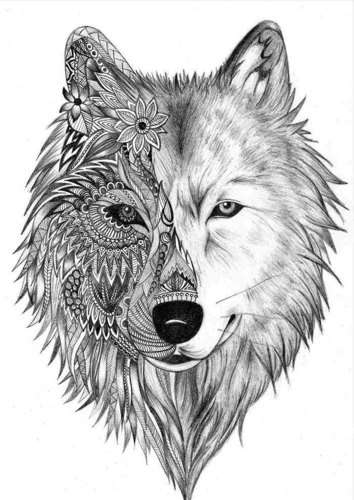 bilder zum nachzeichnen totem tier zeichnung wolfkopf