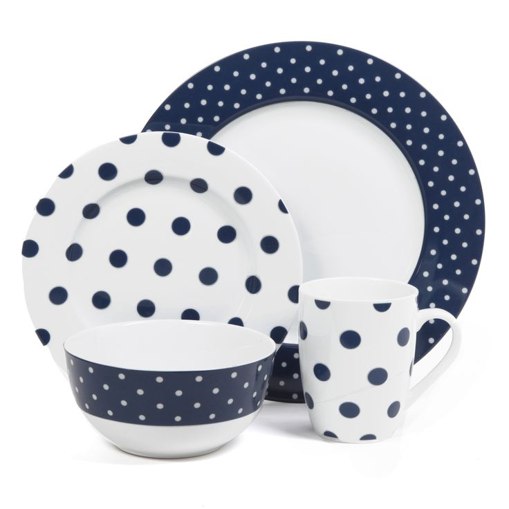 This bold 16-piece ceramic dinnerware set features a fun polka-dot pattern consisting  sc 1 st  Pinterest & 133 best Dinnerware: Polka Dots images on Pinterest | Polka dots ...