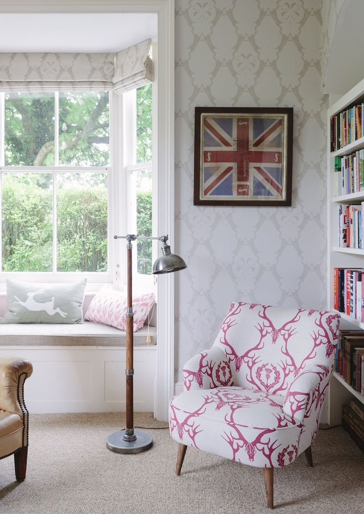 chair with pink damask stag print - Google Search