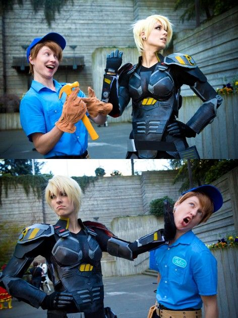 Fix-It Felix & Sergeant Calhoun (Wreck-It Ralph), cosplayed by twinfools & is-teh-lurvz, photographed by weatherstone