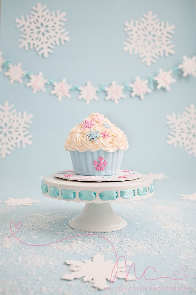 Melissa Calise Photography (First 1st Birthday Baby Cake Smash Portraits Winter One-derland Wonderland Onederland Snowflakes Blue Pink White Cupcake ideas)